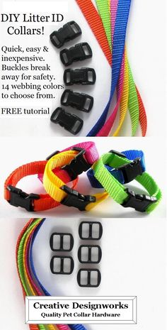Litter ID collars. Many buckle and webbing colors to choose from. Side release buckle breaks away for safety. Diy Dog Collar, Cat Collars, Dog Crafts, Animal Crafts, Puppy Litter, Pet Boutique, Animal Projects, Pet Treats, Dog Hacks