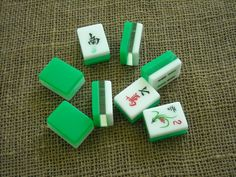 Green and White Tricolor Color Mahjong Tiles - Mahjong Tiles for Crafts - Mahjongg Supplies by MahjongJewelry on Etsy