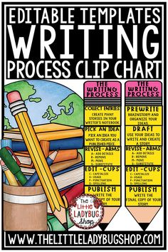 You will love having The Original Writing Process Posters Pencil Clip Chart! This is perfect for your students to go along with your Writer's Workshop! There are several sets of the pencil posters PLUS student cards for their notebooks that are included in this download for you to display in your classroom. Perfect for 3rd grade, 4th grade, and home school classroom. #WritingProcessPosters #WritingProcessPencil #writingcenters