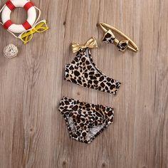 ITFABS Lovely Kids Swimming Costumes Baby Girls Leopard Bikini Swimwear Summer Beach Tankini Swimsuit Bathing Suit