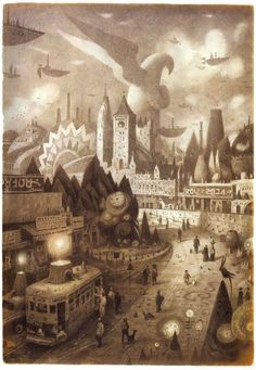 "Shaun Tan ~ illustration from ""The Arrival"" Shaun Tan, Arte Popular, Children's Book Illustration, Illustrators, Fantasy Art, Concept Art, Art Photography, Images, Photoshop"