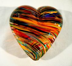 Blown Glass Heart gift Valentines love in Rainbow by Glassometry, $45.00