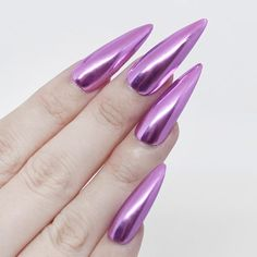 ✨NEW Lilac Chrome 💐 The perfect chrome color for spring, do you agree? 🥰✨ DailyCharme.com Chrome Powder, Gel Top Coat, Chrome Nails, Powder Nails, Nail Tech, Lilac, How To Apply, Nail Art, Artists