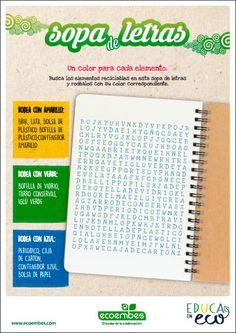 Recursos educativos de reciclaje | Ecoembes Bullet Journal, Spanish Class, Alphabet, Environment, Environmental Science
