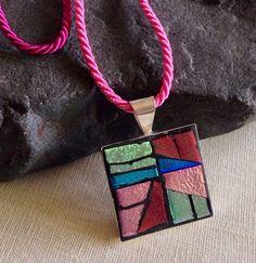 Mosaic Art Jewelry, Fun Summer Jewelry, Modern Geometric Mosaic Pendant, Fashion Jewelry, Dichroic Glass Pendant, Colorful Mosaic Pendant