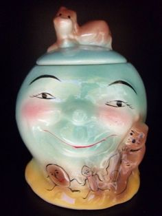 RARE BLUE VTG BRUSH McCOY COW MOON COOKIE JAR CANISTER