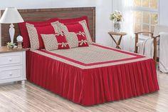 kit colcha casal vermelha com laço e babado estampada 9 pçs Bad Cover, Designer Bed Sheets, Christmas Bedroom, African Print Fashion, Retro Dress, Comforters, Decoration, Room Decor, Ely