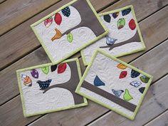 Mug Rugs - birds - set of 4 designs