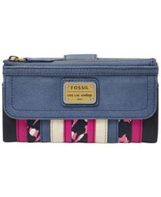 Fossil Emory Leather Patchwork Clutch Wallet   macys.com