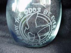 "Mockingjay ""May the Odds..."" Hand Engraved Glass, votive. $6.00, via Etsy."