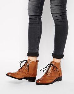 Bertie | Bertie Peron Brogue Flat Lace Up Boots at ASOS