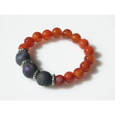Crackle Agate and Druzy Stone Stretch Bracelet ($25) ❤ liked on Polyvore featuring jewelry and bracelets