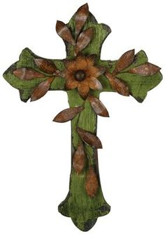 Faded Green Cross With Tin Vines $16