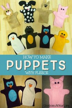 Sewing Crafts For Children Fleece puppets great for Operation Christmas Child shoeboxes. - Here is a Tutorial for How to Make Hand Puppets from Fleece. Comes with free printable patterns and instructions for 8 different hand puppets. Glove Puppets, Felt Puppets, Puppets For Kids, Hand Puppets, Sewing Projects For Kids, Sewing For Kids, Sewing Crafts, Sewing Kits, Toddler Gifts