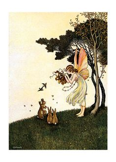 Fairy Playing Pipes to Animals (Ida R. Outhwaite Fairies Art Prints)