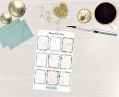 Pinning so I don't forget!! Remember to go back and check out Crafted By Corley on Etsy. Time for Tea Full Box Stickers - Erin Condren Vertical and Horizontal Life Planner Stickers Happy Planner Stickers Full Boxes by CraftedByCorley