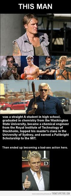 They neglected to mention Dolph Lundgren was the team leader for the United States modern pentathlon team at the 1996 Summer Olympics. Yeah...pretty bad ass!