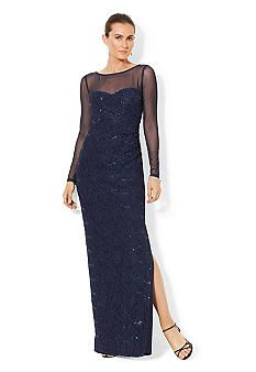 Sequined Lace Boat-neck Gown<br>