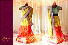 JW's Canary Yellow and bridal red lehenga with green brocade choli and yellow dupatta. The lehenga has printed yellow floral lining and shaded yellow to red ombre net.   It is a perfect choice for bride's haldi or mehendi ceremony, looks refreshed mix of the event's prime colour palette and will look brilliant with real floral jewellery   https://www.facebook.com/photo.php?fbid=614782525240740&set=a.604336059618720.1073741828.125825320803132&type=3&theater