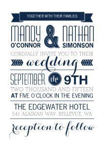 Bold, Blue and full of dazzling Typography, this unique and modern wedding invitation is one that your guests are sure to remember.