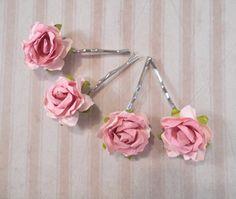 flower bobby pin wedding hair accessories bridesmaid flower hair clip lilac roses rose hair pin rose bobby pin Bridal hair pin