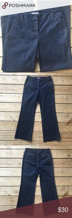 "Ann Taylor Trouser Jeans✨LIKE NEW✨ Beautiful classic dark wash jean trousers in perfect condition! 98% cotton, 2% Lycra Spandex. Waist in the front is approx 15.5"". Inseam 29.5"". Ann Taylor Jeans"