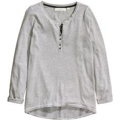 H&M Henley shirt (£13) ❤ liked on Polyvore featuring tops, shirt tops, curved hem shirt, jersey shirt, three quarter sleeve tops and cotton jersey shirt