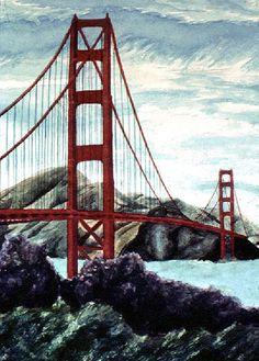 painting of bridges and structures   Thomas Kinkade Golden Gate Bridge San Francisco Painting anysize