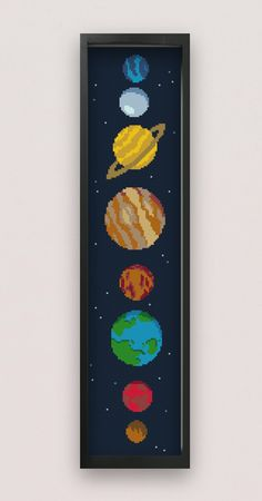 Solar System Cross Stitch Pattern - Cute Cross Stitch Planets