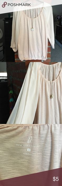 NY&Co Light Pink Blouse NY&Co light pink blouse with sheer split sleeves. Stretchy bottom as seen in 3rd photo. Size M, loose fitting. Cute with jeans and sandals. Worn a handful of times  NO TRADES!!  but make an offer or bundle to save! Free gift with bundles!  New York & Company Tops Blouses