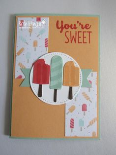 Dear Crafters, Today Ihave some morecards using the Cool Treats Suite. There is nothing better than an ice cold treat when the sun is shining, especially today…. a public holiday in Melbour…