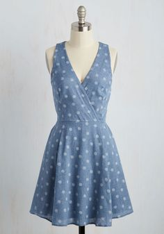 Unscripted Picnic Dress. Slipping into this surplice dress on your first day in Brussels, your want to flaunt its petite, white medallion print has you wandering about. #blue #modcloth