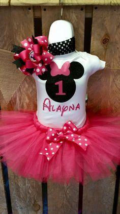 Minnie Mouse Birthday Tutu Set First Birthday Pink and Black 1st Birthday