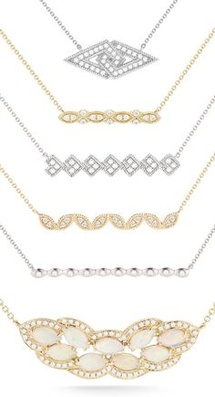 Layering game strong! Create the perfect layered look. #diamonds #necklaces…