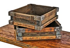 original early 20th century antique american industrial refinished factory machine shop hardwood stackable bin or storage tote with steel corner guards
