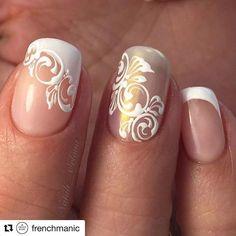 nail_art_club_ Posts On French Nail Art, French Tip Nails, Cute Nails, Pretty Nails, Gel Nails, Acrylic Nails, Nagellack Trends, Wedding Nails Design, Bride Nails