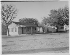 """exterior of an All-Black School, known at that time as the """"Negro School"""". Austin, Texas."""