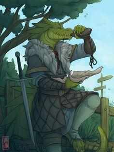 f Half Dragon Rogue Arcane Trickster Padded Armor Sword wine skin Farmland Road lunch break ArtStation by Elin Lövgren lg Fantasy Dragon, Fantasy Rpg, Fantasy Artwork, D D Characters, Fantasy Characters, Character Portraits, Character Art, Dnd Dragonborn, Anthro Dragon