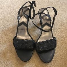 "Ankle strap high heeled black sandals Leather upper. No signs of wear. Strap wraps around ankle to fasten. 3"" heel. Style is ""Melanie"". Liz Claiborne Shoes Heels"