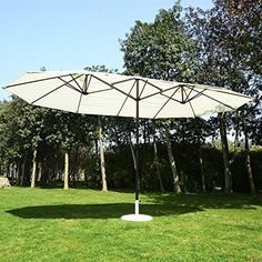 Outsunny Outdoor Patio Market Double-Sided Umbrella – Cream White and Brown – Home Decorations Patio Umbrella Covers, Large Patio Umbrellas, Sun Umbrella, Metal Pergola, Pergola Shade, Pergola Patio, Pergola Plans, Pergola Ideas, Metal Roof