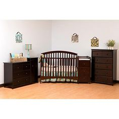 Storkcraft   Portofino Convertible Crib And Changer Combo, Espresso.. Scrap  The Corner Change Table... This Is Amazing!!! Yes Please!