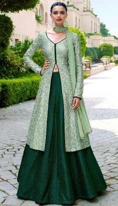 Pista Bhagalpuri Silk Resham Mirror Embroidered Beautiful Cut Style Anarkali Suit With Chiffon Dupat