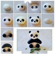 How to make modeling clay with children - step by step patterns - Anniversaire - Kuchen Dekorieren - kuchen kindergeburtstag Fondant Cake Toppers, Fondant Figures, Cupcake Cakes, Oreo Cupcakes, Cupcake Ideas, Polymer Clay Animals, Polymer Clay Crafts, Bolo Panda, Panda Cakes