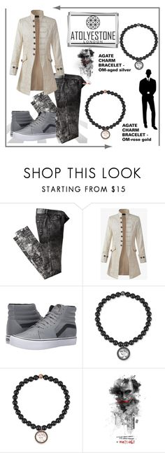 """""""AGATE CHARM BRACELET - OM"""" by mery-2601 ❤ liked on Polyvore featuring Vans, modern, men's fashion and menswear"""
