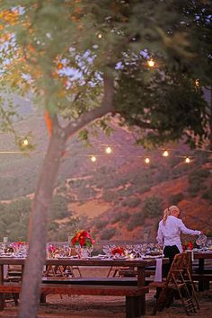 casual picnic style wedding dinner at dusk Wedding Dinner, Casual Wedding, Farm Wedding, Wedding Events, Rustic Wedding, Table Setting Inspiration, Wedding Inspiration, Wedding Ideas, Wedding Stuff
