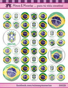 """Brazil 2014 FIFA World Cup Flags - 1"""" Bottle Cap Images - Digital Collage Sheet 8.5x11"""" - Hair Bow Centers, Magnets - INSTANT DOWNLOAD"""