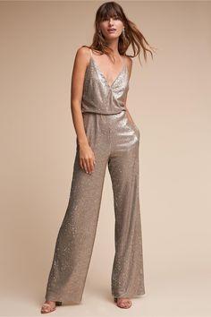 BHLDN Silver La Lune Jumpsuit in  Bride | BHLDN