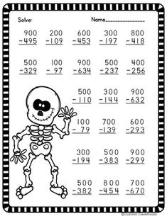 3 Digit Subtraction Across Zeros-Halloween Themed by Copper Classroom Math Practice Worksheets, Printable Math Worksheets, Subtraction Across Zeros, Math Drills, Math Sheets, Eureka Math, Halloween Math, Fourth Grade Math, Math Practices