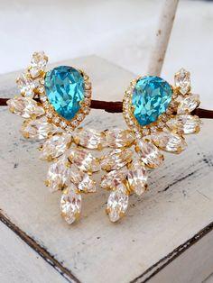 Turquoise earrings | bridal earrings | Teal earrings| large crystal earrings by EldorTinaJewelry on Etsy | http://etsy.me/1jEFm6K