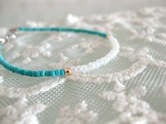 Dainty minimalist turquoise and white seed bead by beadpod8